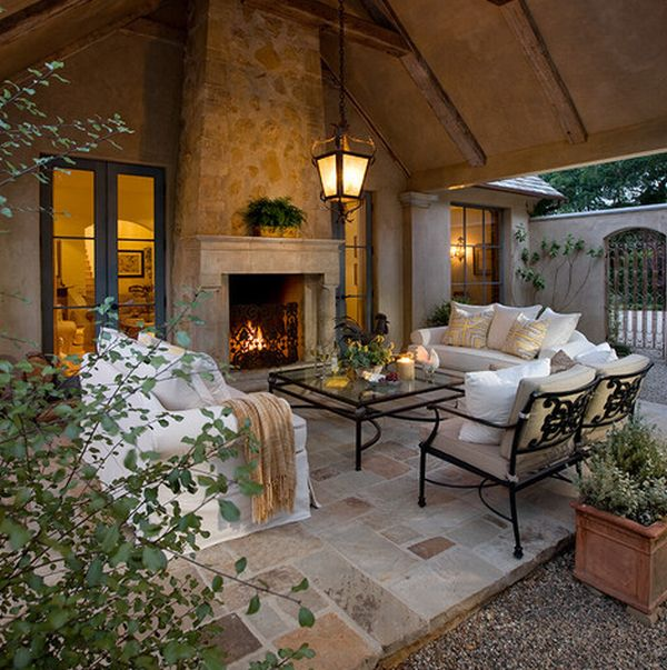 Perfect stone fireplace for the outdoor living room