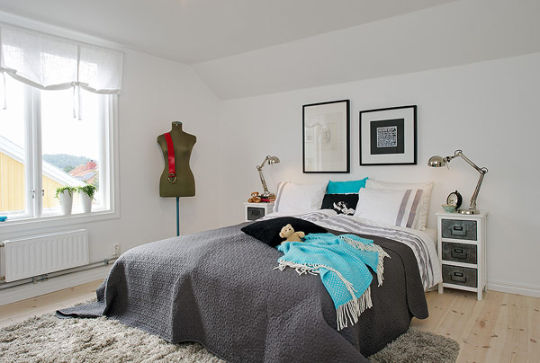 Small Attic apartment with white bedroom