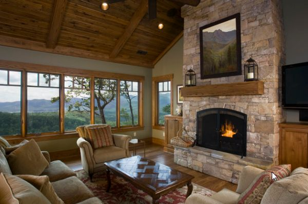 Stylish Fireplace complements a natural setting