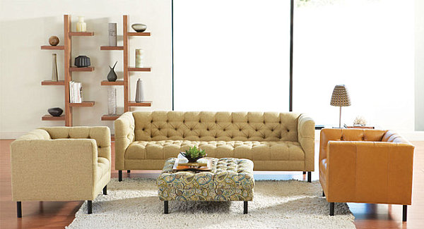 Clean-lined seating in a Scandinavian-style living room