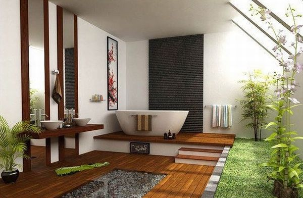 Exquisite Japanese bathroom with loads of space and green
