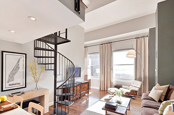 Metal staircase in a contemporary living room
