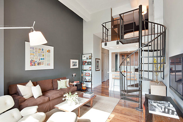 Metal staircase in a gray living room