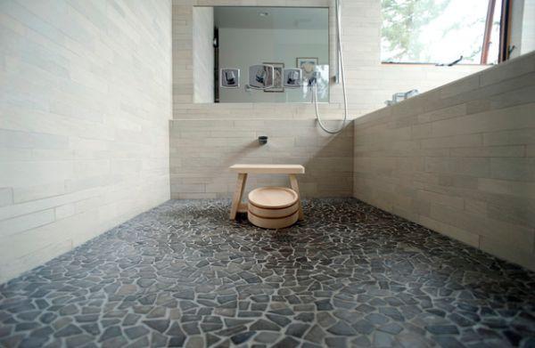 Traditional Japanese bath with beautiful pebble stone flooring
