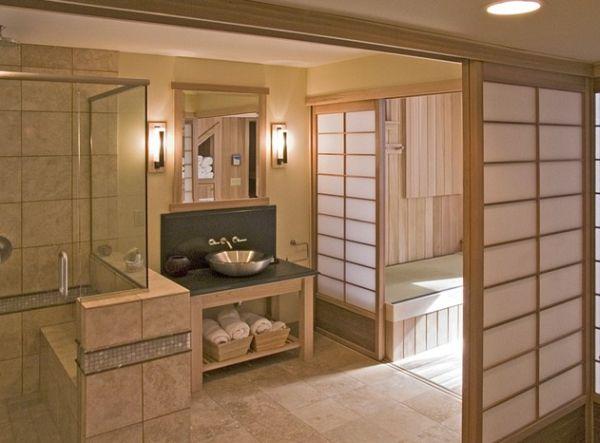 Tranquil Japanese bathroom with serene Shoji screens