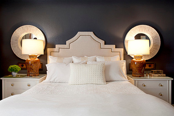 White nightstands with gold handles