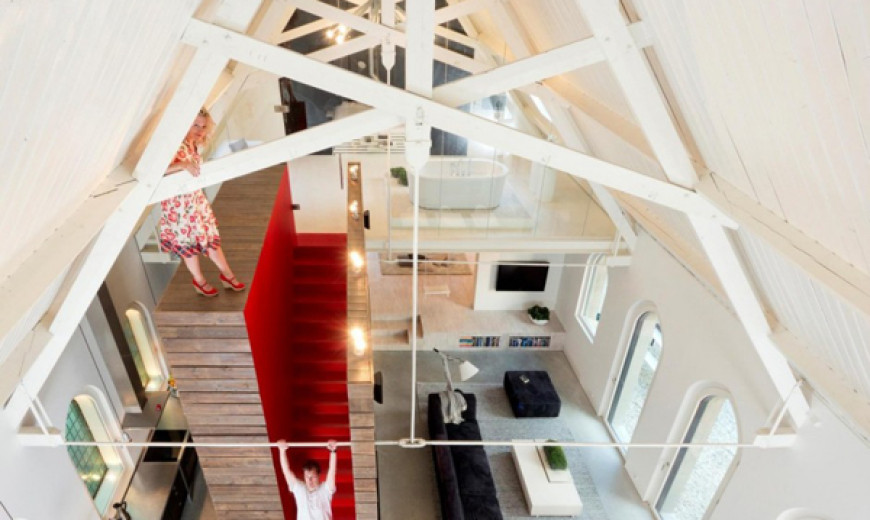 Dutch Church Transformation Into Beautiful and Playful Home