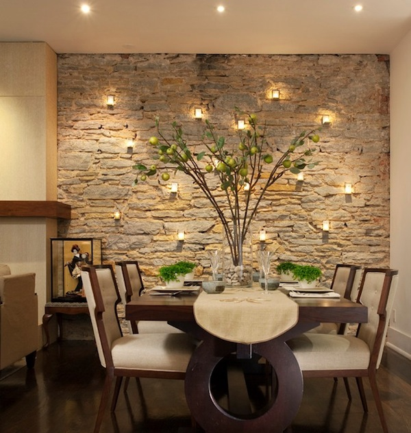 dining room accent wall stone