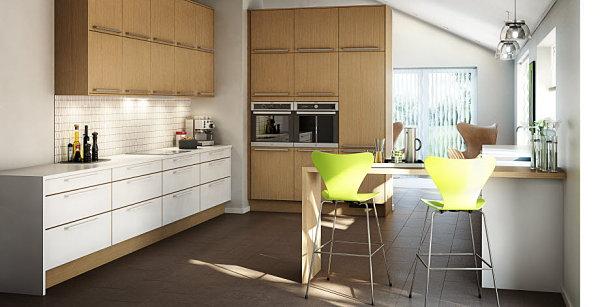 Clean-lined Scandinavian kitchen