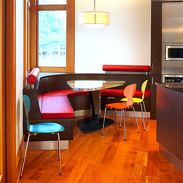 Colorful booth seating in a modern kitchen