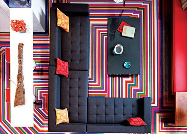 Colorful striped flooring created meticulously using duct tape