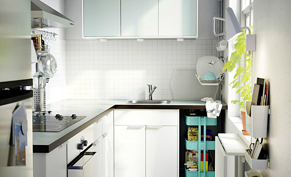 Crisp, white Scandinavian kitchen with colorful accents