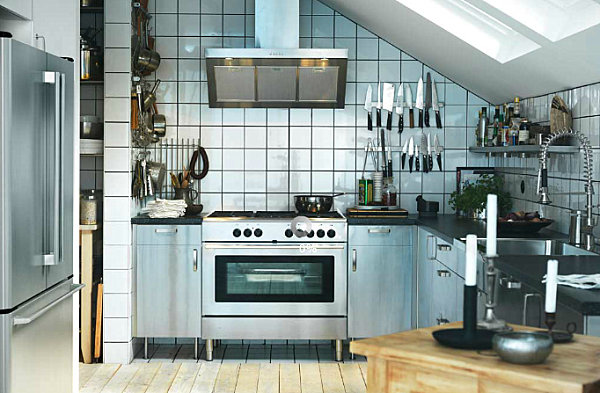 Scandinavian kitchen with metallic accents