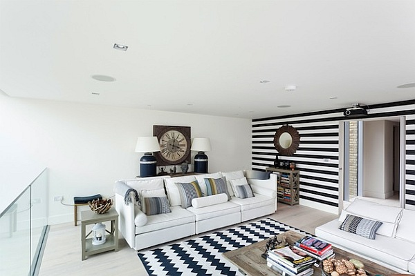 beautiful white living room with patterned rugs