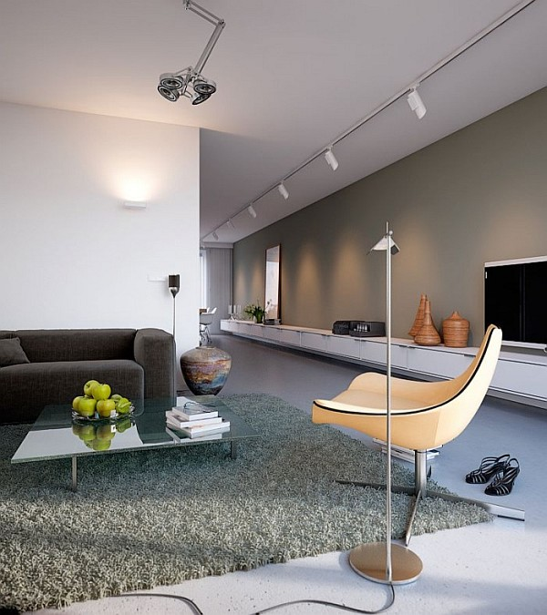 lounge area with gray rug