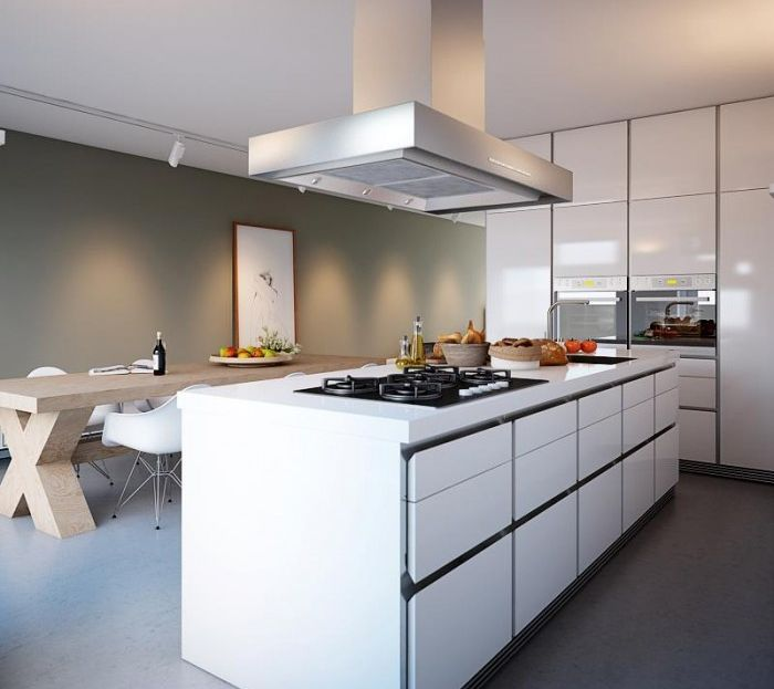 modern kitchen island with white cabinets