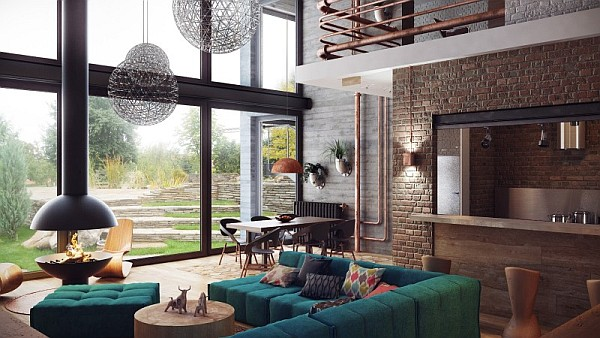 ultra modern living room with an industrial feel