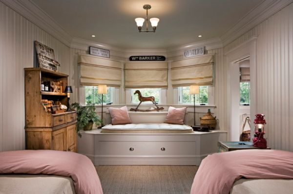 Classic bedroom design incorporating custom designed trundle bed at its heart