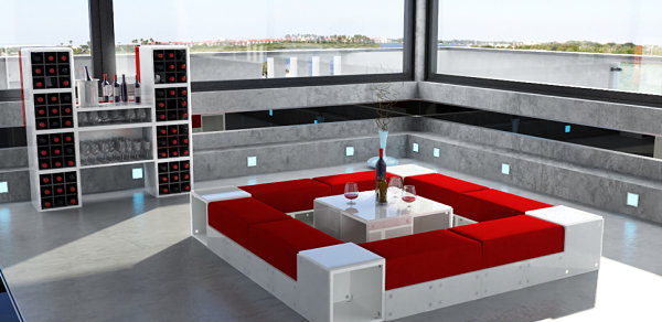 Compact living room seating