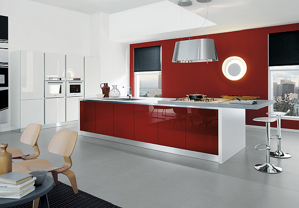 Contemporary kitchen in white and glossy amaranth red