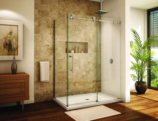 Frameless sliding shower door system saves up on the space with sleek form