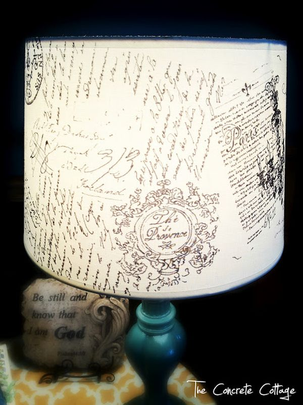 DIY french script lampshade