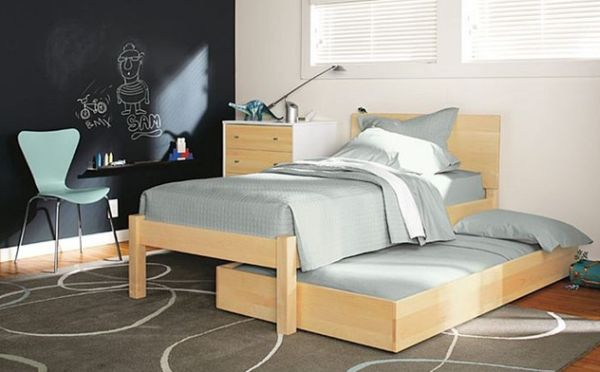 Pogo Kids' bedroom in cool neutral tones sporting a sleek trundle bed