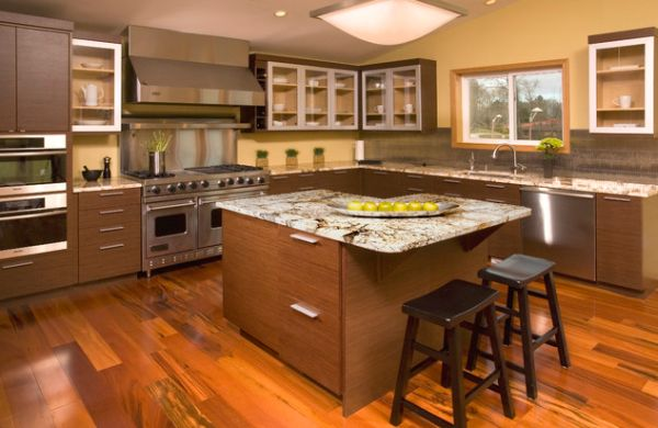 Smart Asian kitchen with horizontal grain wenge cabinets and a couple of skylights