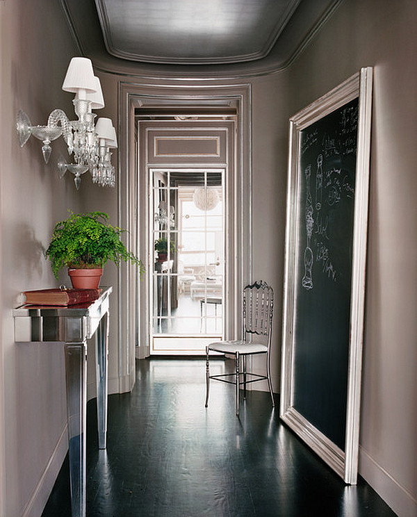 Cool contemporary entryway with a retro feel
