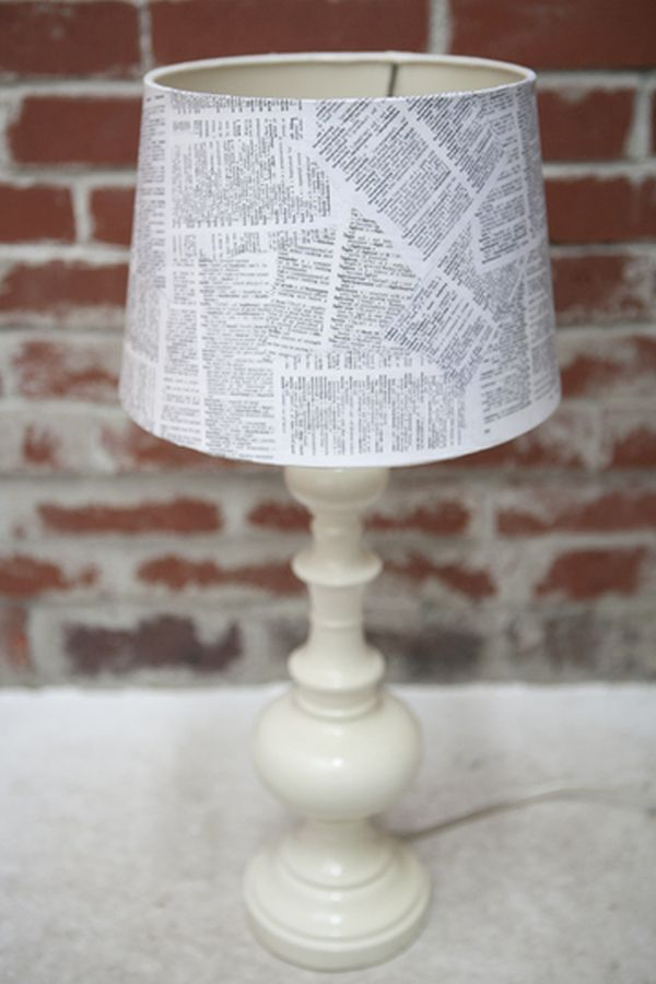 A DIY lampshade using book pages