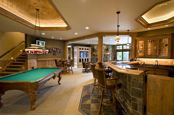 rustic and elegant basement as rec room