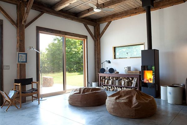 rustic rec room with beanbags