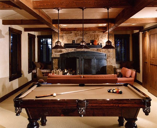Rustic Rec Room With Pool Table Decoist