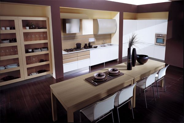 Beautiful contemporary kitchen with a vivid violet tinge