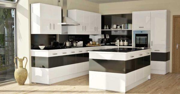 Bold kitchen design in black and white