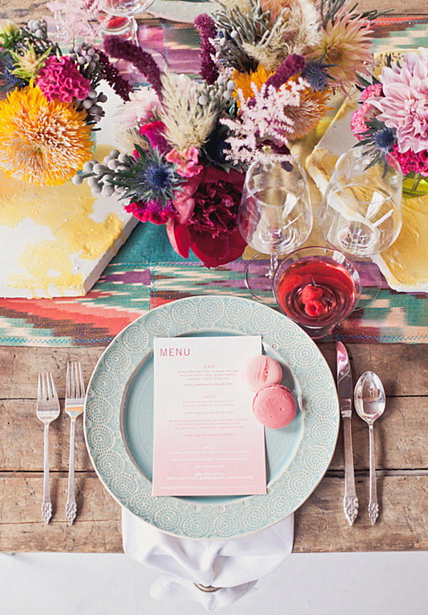 Colorful indie wedding table