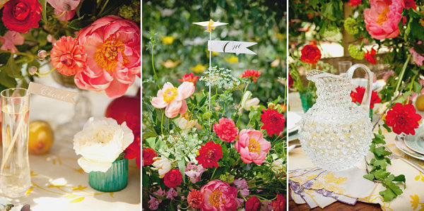 Lush wedding table with colorful details