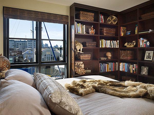 Modern houseboat bedroom