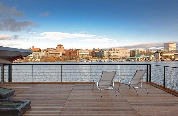 Modern houseboat deck