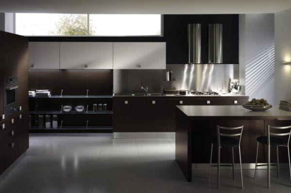 Modern kitchen design in dark hues
