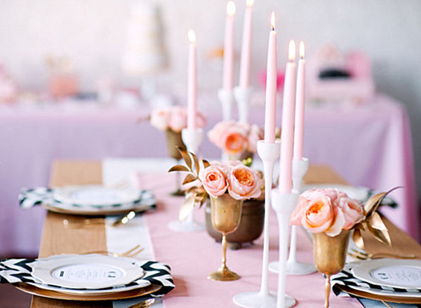 Pink, gold and chevron wedding table