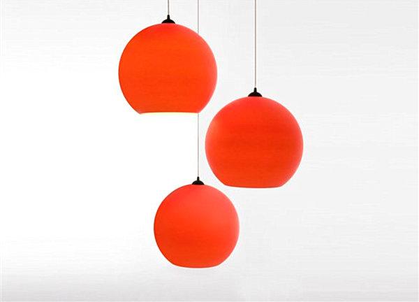 Red polycarbonate pendant light