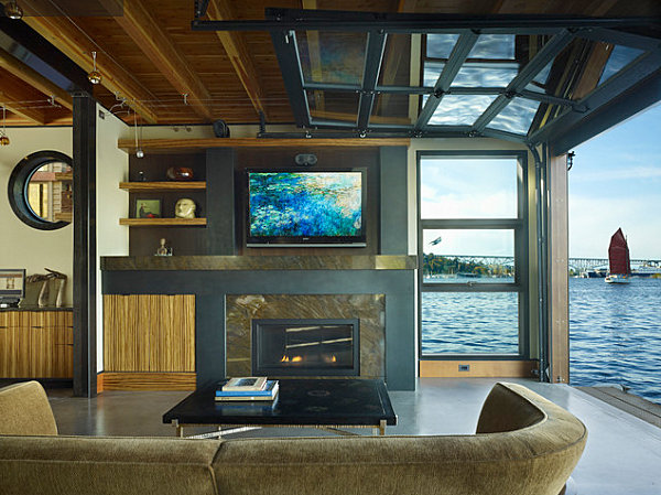 Seattle houseboat living room