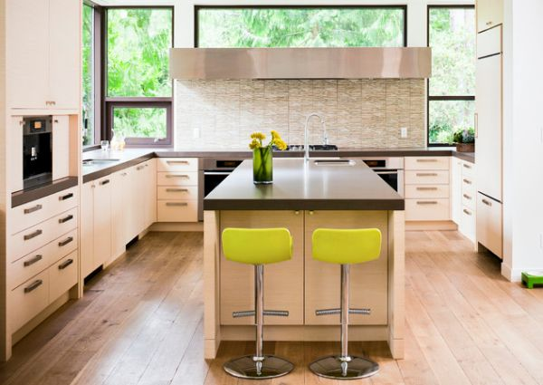 Smart kitchen with touch of yellow