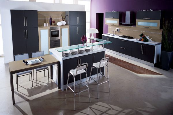 Stylish kitchen with glass countertop incorporates several textures
