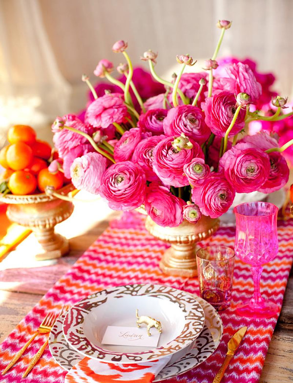 Vivid pink and orange festive table