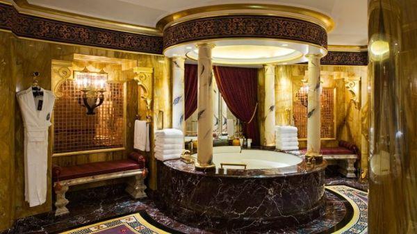 A beautiful Arabian-style bathroom offers plenty of luxury.