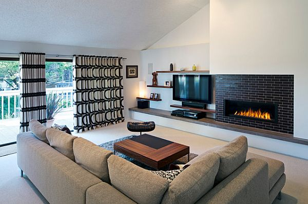 Black and white curtains in a modern living room