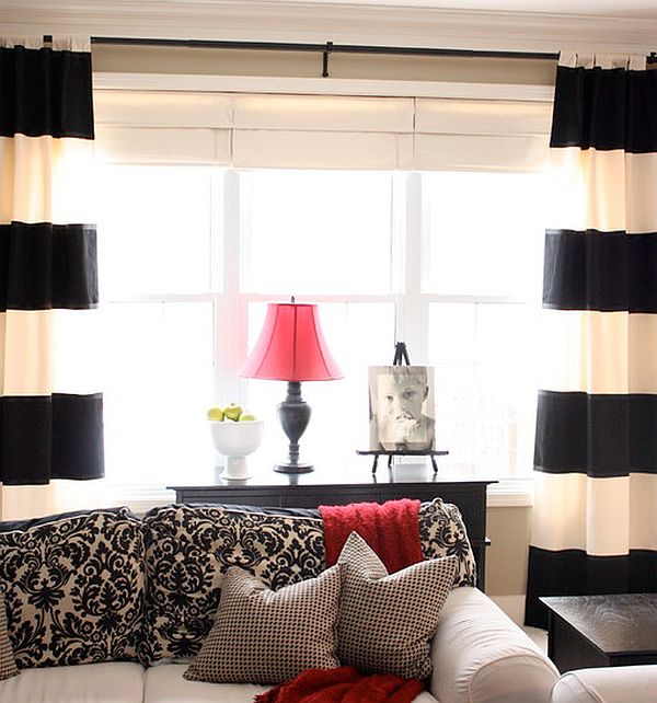 Black and white curtains in contrast with other home accessories