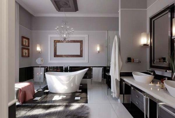 A beautiful contemporary-style bathroom.